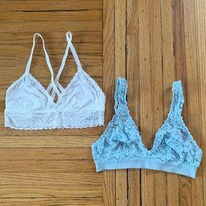 Bundle of Aerie White and Blue Medium Bralettes